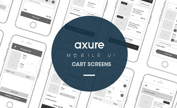 Axure mobile UI Cart screens