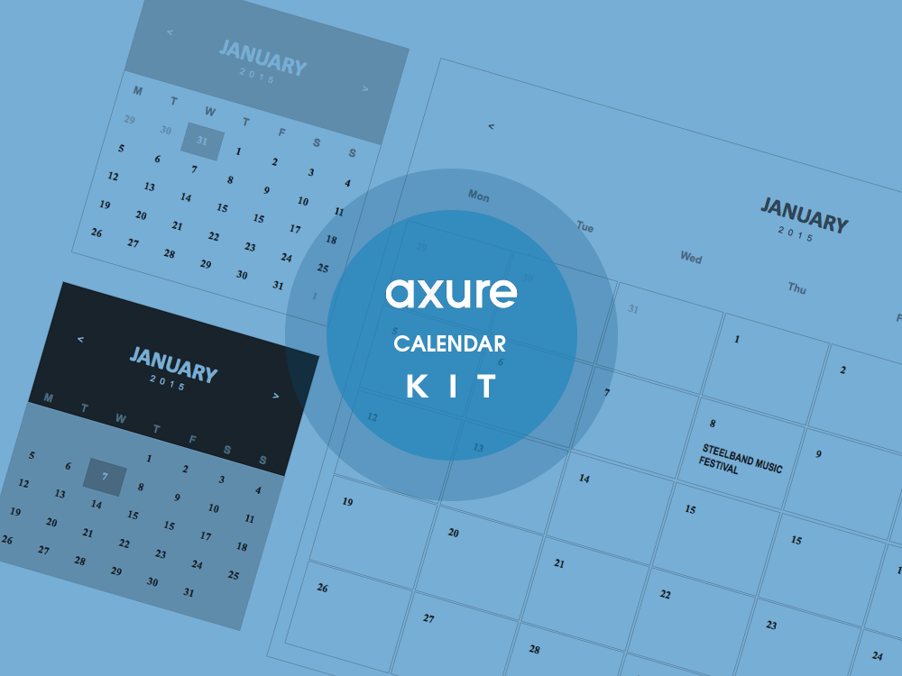 Calendar library widget kit for Axure