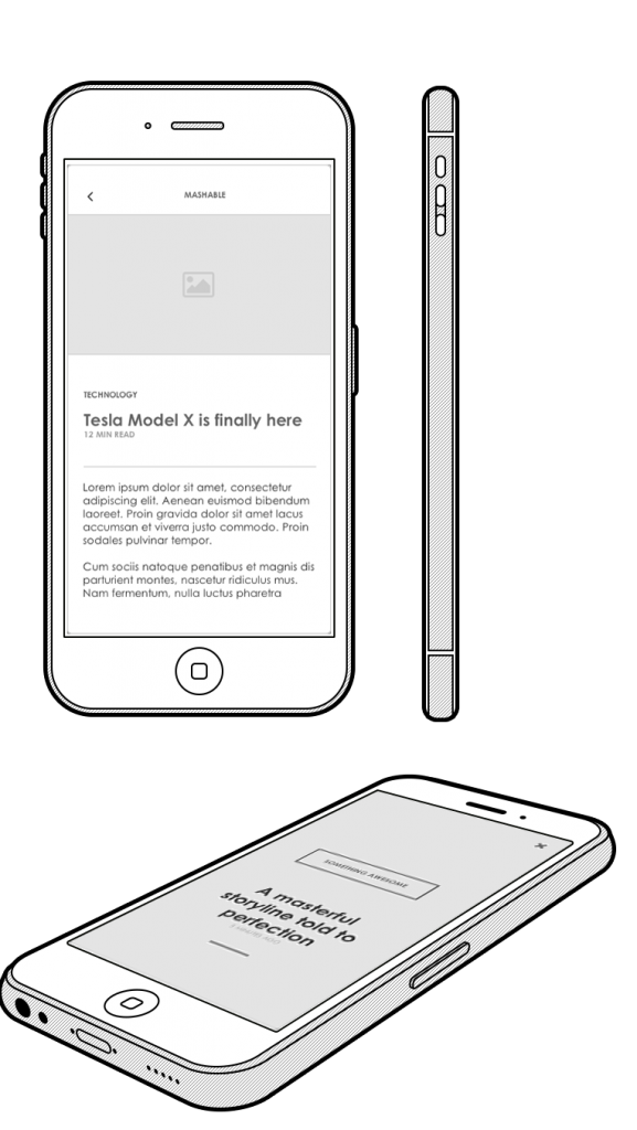 Axure Mobile UI Blog content screens